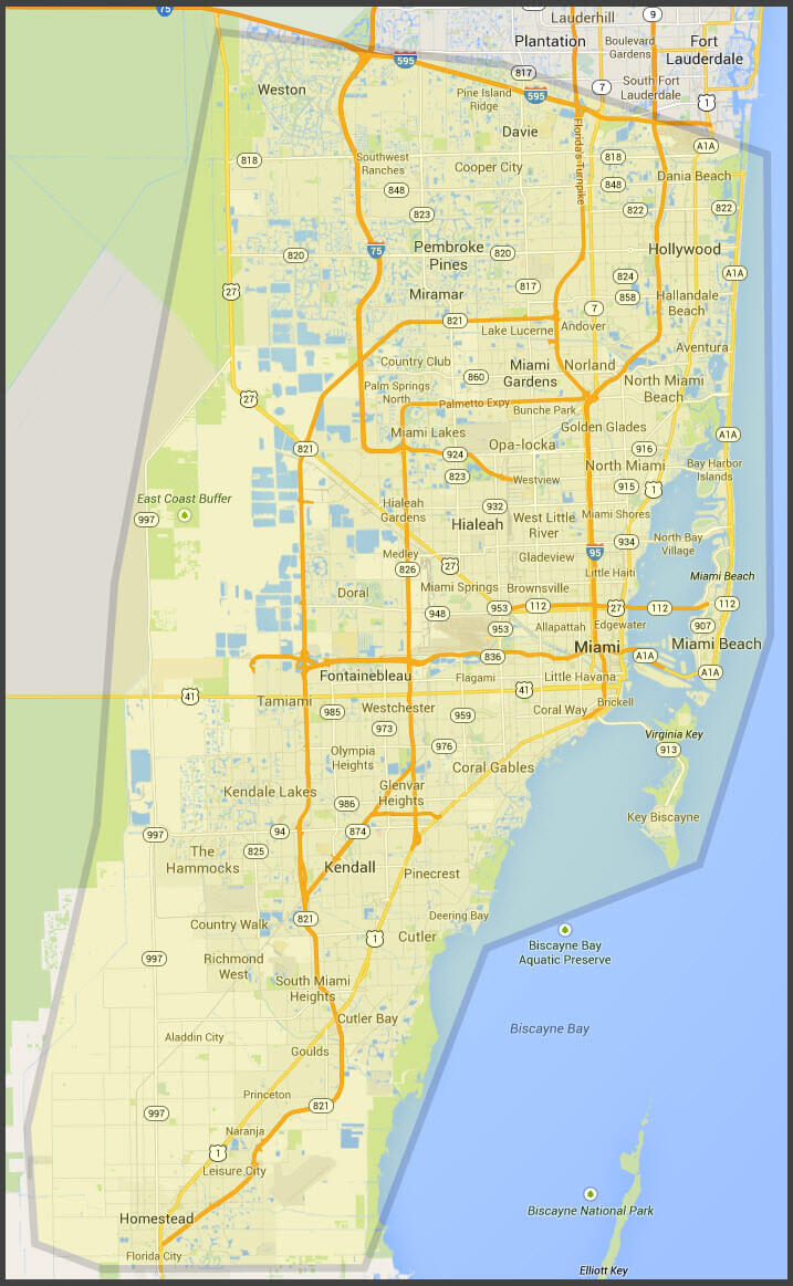 South Florida Services Area Florida Painting Drywall Miami - Map of south florida
