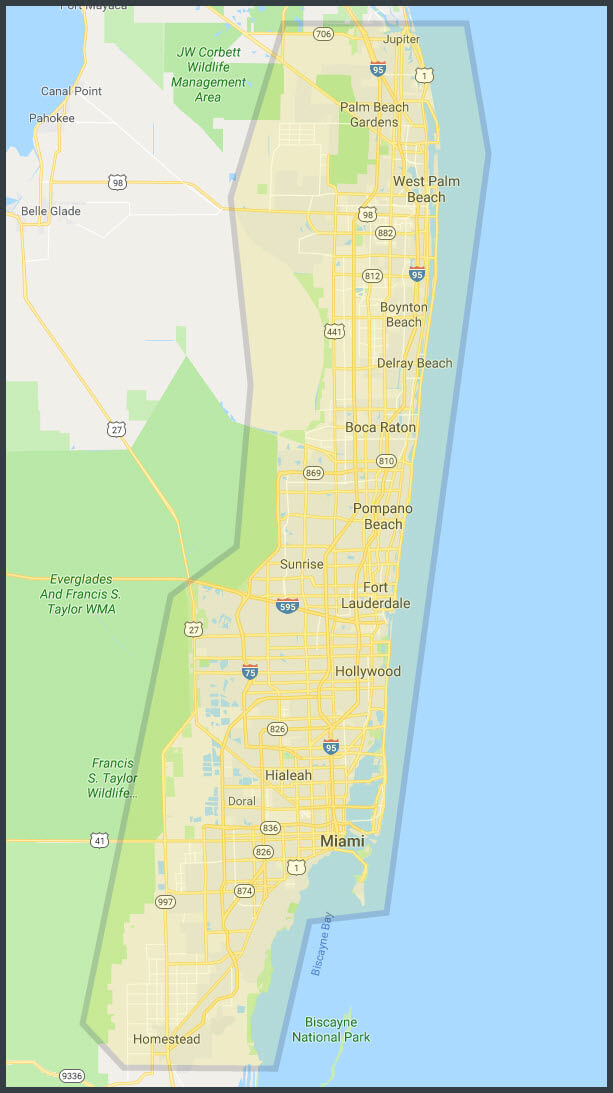 South Florida Services Area Florida Painting Drywall Miami - Map of southern florida